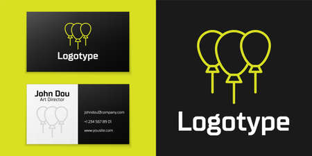 Logotype line Balloons with ribbon icon isolated on black background. Merry Christmas and Happy New Year. Logo design template element. Vector
