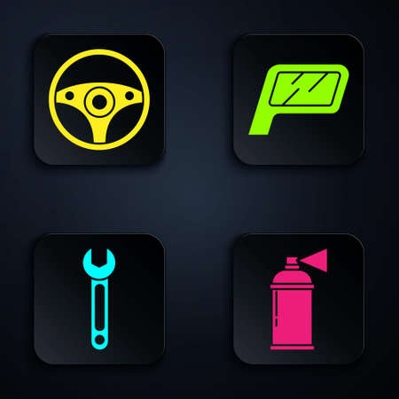 Set Paint spray can, Steering wheel, Wrench and Car mirror. Black square button. Vector