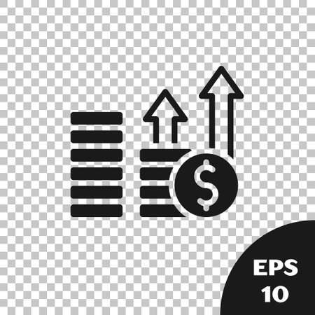 Black Financial growth and dollar coin icon isolated on transparent background. Increasing revenue. Vector