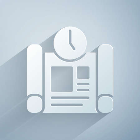 Paper cut Business project time plan icon isolated on grey background. Paper art style. Vector