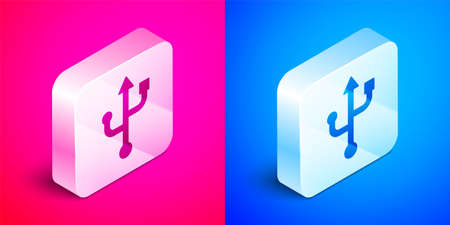 Isometric USB symbol icon isolated on pink and blue background. Silver square button. Vector