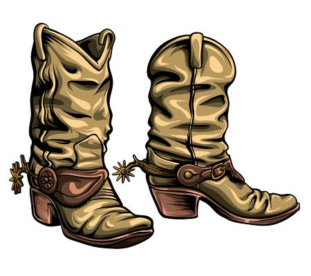 Ilustración de Old Gringo cowboy boots vector format. Hand-drawn texan traditional shoes. - Imagen libre de derechos