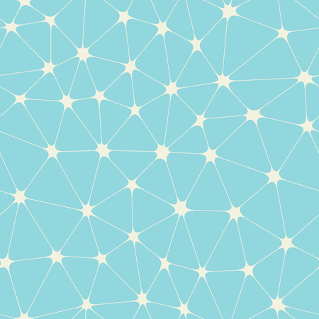 Illustration pour Abstract bionic grid with stars in nodes on blue vector background. Molecule connection seamless pattern. - image libre de droit