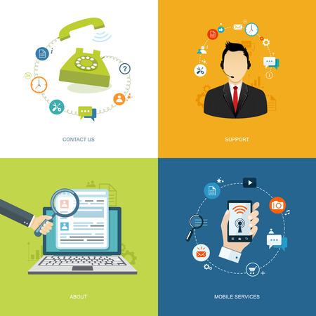 Illustration pour Flat internet banners set. Online support, about us,mobile services,contact us illustrations.  - image libre de droit