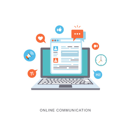 Foto per Online communication flat illustration with icons. eps8 - Immagine Royalty Free