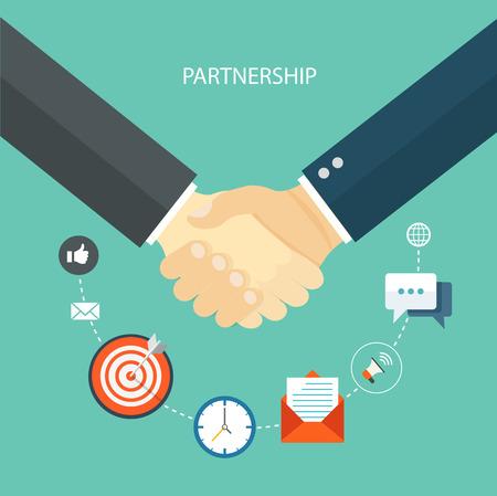 Ilustración de Partnership flat illustration with icons.   - Imagen libre de derechos