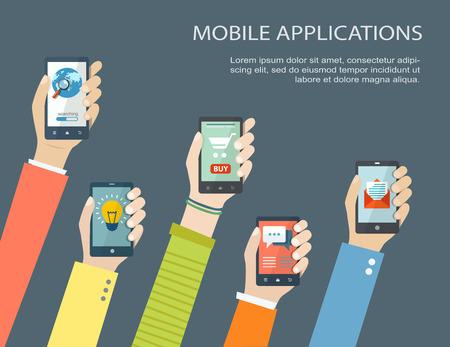 Illustration pour Mobile application concept. Hands holding phones. Eps10 - image libre de droit