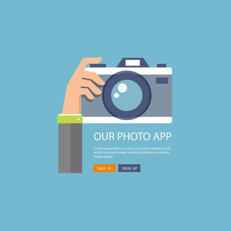 Ilustración de Flat illustration of photo camera with hand holding it. - Imagen libre de derechos