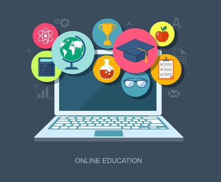 Photo pour Online education flat illustration. - image libre de droit