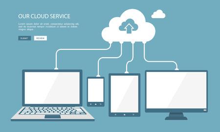 Illustration pour Cloud technology flat illustration.  - image libre de droit