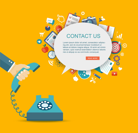 Illustration pour Flat illustration of hand holding phone with icons. Contact us.  - image libre de droit