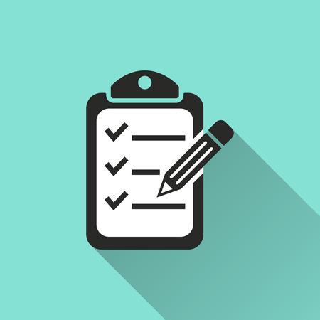 Illustration pour Clipboard pencil  icon, vector illustration, flat design. - image libre de droit