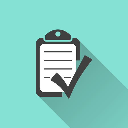 Photo pour Checklist icon on a green background. Vector illustration, flat design. - image libre de droit