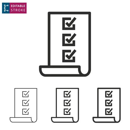 Illustration pour Checklist - outline icon on white background. Editable stroke illustration. - image libre de droit