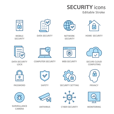 Illustration pour Security flat line icons. Set of privacy, protection, defense and more. Editable Stroke. Change to any size and any colour. - image libre de droit