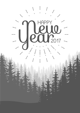 Happy New Year Flyer. Wild coniferous forest background. Pine tree, landscape nature, wood natural panorama. Vector illustration