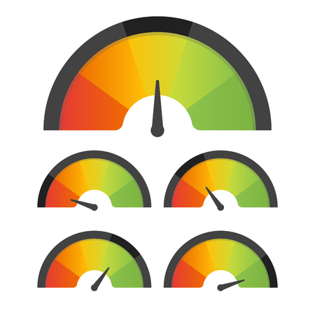 Illustration pour Customer satisfaction meter speedometer set. Vector illustration. - image libre de droit