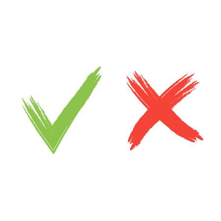 Ilustración de Hand drawn red and green grunge check mark vector illustration. - Imagen libre de derechos