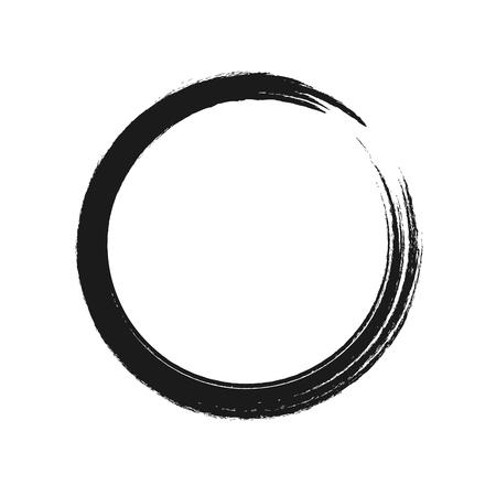 Photo pour Black brush stroke in the form of a circle. Vector illustration. - image libre de droit