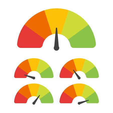 Ilustración de Customer satisfaction meter with different emotions. Vector illustration. - Imagen libre de derechos