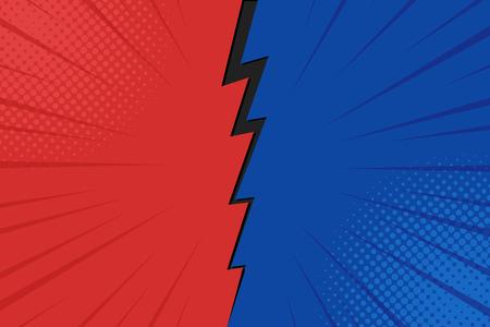 Illustration pour Pop art comic background lightning blast halftone dots. Cartoon Vector Illustration on red and blue. - image libre de droit