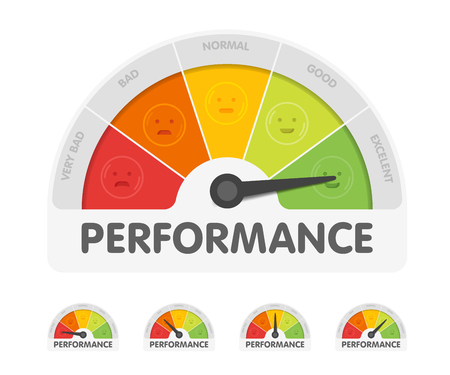 Illustration pour Performance meter with different emotions. Measuring gauge indicator vector illustration. Black arrow in coloured chart background. - image libre de droit