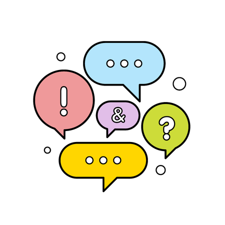 Illustration pour Vector illustration of a communication concept. Colorful dialog speech bubbles vector illustration. - image libre de droit