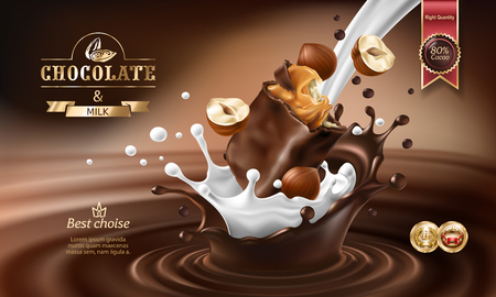 Illustration for Vector 3D realistic illustration, splashes of melted chocolate and milk with falling piece of chocolate bar and hazelnuts. Chocolate bar packaging design, template, advertising poster for promotion - Royalty Free Image