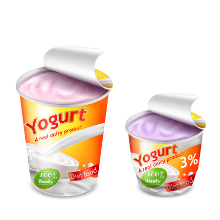 Illustration for Vector 3D realistic packing for yogurt isolated on white background. Packing template, large and small plastic cup for yogurt with open lid, yellow-orange branded design - Royalty Free Image