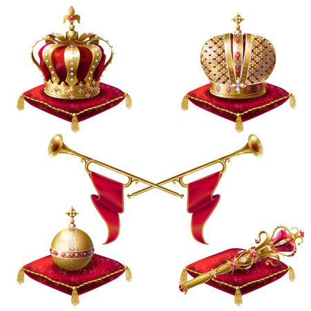 Illustration pour Royal golden crowns with jewels, fanfares, scepter and orb on red velvet pillows, set of vector realistic icons isolated on white background. Heraldic elements, monarchic symbols - image libre de droit