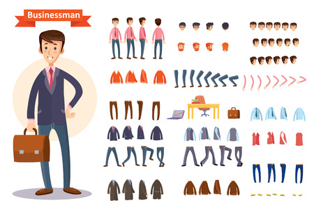 Illustration pour Man, businessman character creating cartoon vector set. Collection of faces, front, side and back view, emotions, hands and feet bent in different positions, formal and casual clothes and accessories - image libre de droit