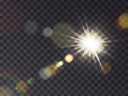 Ilustración de Bright luminous sun with light effect, sunshine with lens flare, realistic vector illustration on transparent background. Solar white flash with golden rays, design element - Imagen libre de derechos