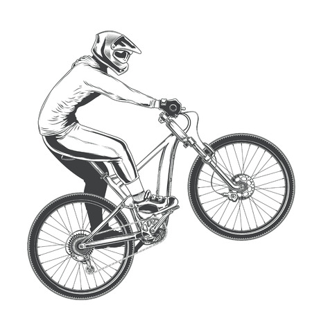 Ilustración de Ride on a sports bicycle, BMX cyclist performing a trick, mountain bike competition, black vector illustration isolated on a white background - Imagen libre de derechos
