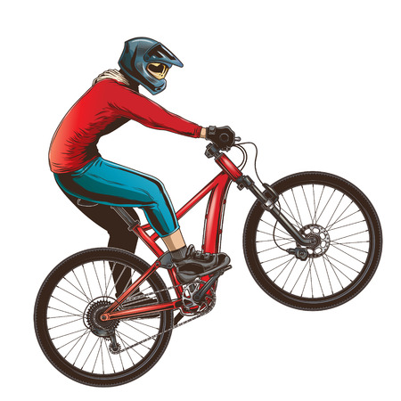 Ilustración de Ride on a sports bicycle, BMX cyclist performing a trick. Mountain bike competition, color vector illustration isolated on a white background. - Imagen libre de derechos