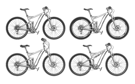 Ilustración de Sports bicycles, BMX, motocross and mountain bikes for competition, set of black vector illustrations isolated on a white background - Imagen libre de derechos