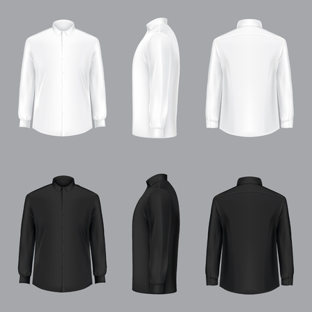 Illustration for White and black male shirt with long sleeves and buttons in front, back and side view, isolated on a gray background. 3D realistic vector illustration, template formal or casual shirt - Royalty Free Image