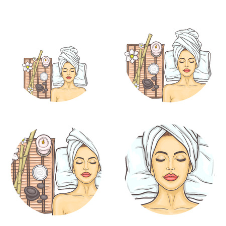Illustration pour Set of female round vector avatars for users of social networks, blogs, profile icons in pop art style. Young girl with closed eyes relaxes in spa salon after cosmetic procedures and massage. - image libre de droit