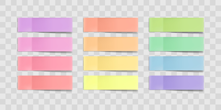 Ilustración de Vector colorful sticky notes, post stickers with shadows isolated on a transparent background. Multicolor paper adhesive tape, rectangle empty office blanks, reminder lists. Great for banner - Imagen libre de derechos