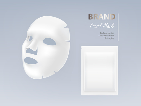 Illustration pour Realistic vector white sheet facial cosmetic mask isolated on background. Skincare, cosmetic beauty product for face treatment, anti-aging, cleansing, moisturising complex. Mockup for package design - image libre de droit