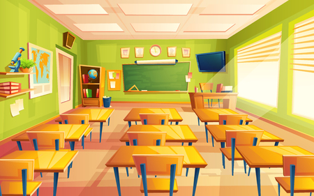 Illustration pour Vector cartoon empty elementary or high school, college, university classroom background. Illustration with room interior indoor objects desk, table, board, chair, tv set. Learning, education backdrop. - image libre de droit