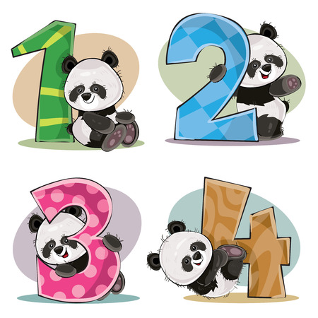 Illustration pour Set of cute baby panda bears with numbers vector cartoon illustration. Clipart for greeting card for kids birthday, invitation for invite, template, t-shirt print. Fun math, counting, numerals 1,2,3,4. - image libre de droit