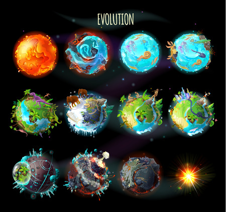 Ilustración de Stages of the origin of life on Earth, evolution, climate changes, technology progress, cataclysms, planetary explosion, death of planet, vector concept illustration. Timeline, infographic elements - Imagen libre de derechos