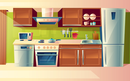 Illustration pour Cooking room interior, kitchen counter with appliances in cartoon illustration. - image libre de droit