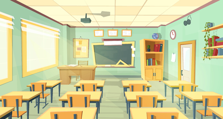 Illustration pour Vector cartoon background with empty classroom, interior inside. Back to school concept illustration. College or university training room with furniture, chalkboard, table, projector, desks, chairs - image libre de droit