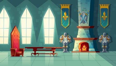 Illustration for Vector castle hall, interior of royal ballroom with throne, table, fireplace and knight armor. Luxury furniture in medieval palace. Fantasy, fairy tale or game background - Royalty Free Image