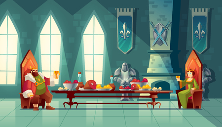 Illustration for Vector castle hall with king and queen eat lunch. Feast table with food, banquet party. Interior of royal ballroom with throne for luxury banket. Cartoon furniture in medieval palace - Royalty Free Image