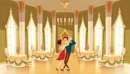 Illustration for Vector hall with dancers, interior of ballroom. Big room with chandelier, columns for royal reception in luxury medieval palace - Royalty Free Image