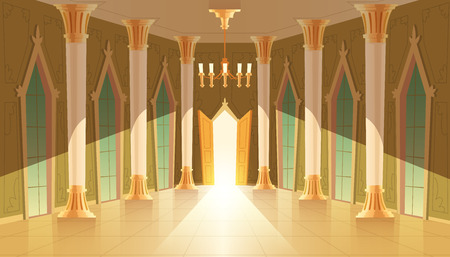 Illustration for Vector castle hall, interior of ballroom for dancing, presentation or royal reception. Big room with chandelier, closed windows. Open door, light illuminates columns, pillars in luxury medieval palace - Royalty Free Image
