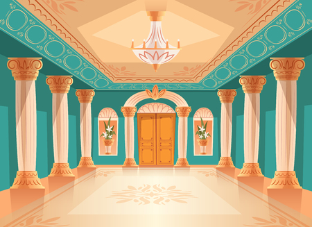 Illustration for Ballroom or palace reception hall vector illustration of luxury museum or chamber room. Cartoon royal blue interior background with chandelier, vases and decoration on ceiling, walls and columns - Royalty Free Image