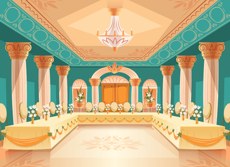 Illustration pour Vector hall for banquet, wedding. Interior of ballroom with tables, chairs for feast, celebration or royal reception. Big room with chandelier, columns, pillars in luxury medieval palace - image libre de droit